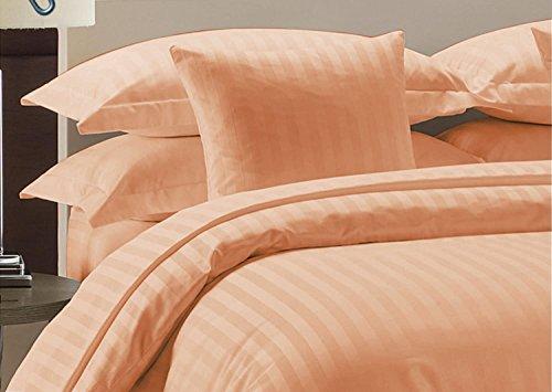 Confort Phalanges 600tc Parure de lit de 4pc Euro King IKEA Taille 100% Coton égyptien à Rayures, pêche, Euro King IKEA