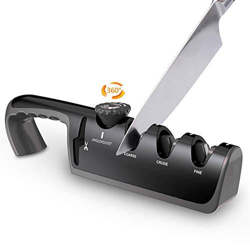 Karanice Messerschärfer Mit Winkeleinstellung 4-in-1 Manueller Messerschärfer Classic Messerschaerfer Profi, Effektiv für Edelstahl und Keramikmesser Aller Größen (Schwarz)