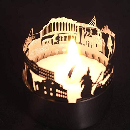 13gramm Athen-Skyline Windlicht Schattenspiel Souvenir, 3D Edelstahl Aufsatz für Kerze inkl. Karte