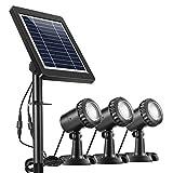 Ankway Solarspots Unterwasserstrahler LED Teichbeleuchtung Solar mit DREI Spots wasserdicht IP68 Solar Spotlight Licht Sensor...