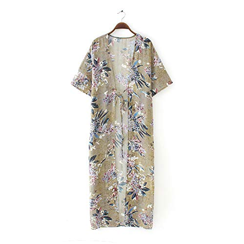 YYH Vrouwen Cardigan bloemenprint chiffon los sjaal kimono cardigan top vertukking hemd-blouse badmode voorzijde open gedrukt sjaal sheer Large geel