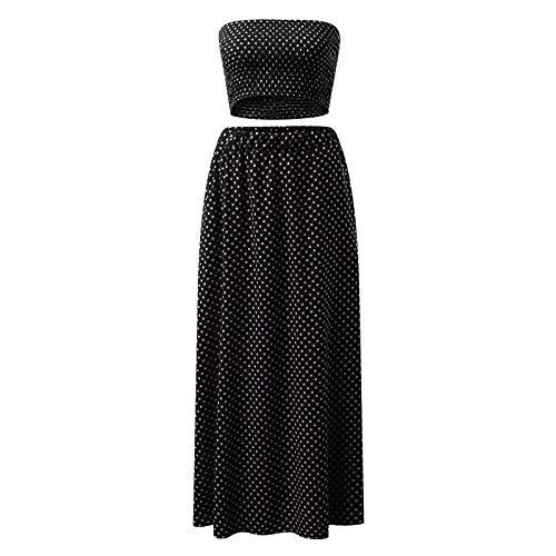 YinGTral Damen 2-teiliges Outfit Polka Dots Crop Top und Rock Set mit Taschen Strandanzug