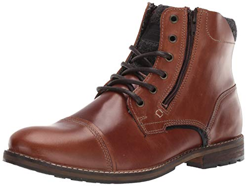 Steve Madden Men's BAYUN Combat Boot, Cognac Leather, 11 M US