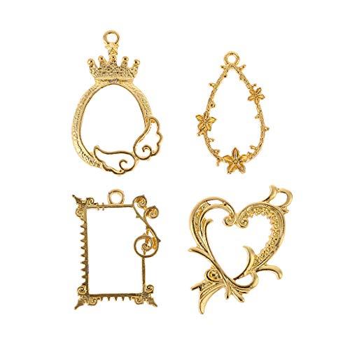 SKYVII 4 unids/set marco de metal antiguo exquisito floral epoxi resina artesanía UV resina herramientas DIY joyería haciendo colgante decoración reloj Marcos