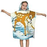 XCNGG Toallas de baño con Capucha Bambi para niños, baño Absorbente súper Suave, Toallas de baño de Microfibra para Piscina y Playa, adecuadas para niños y niñas.