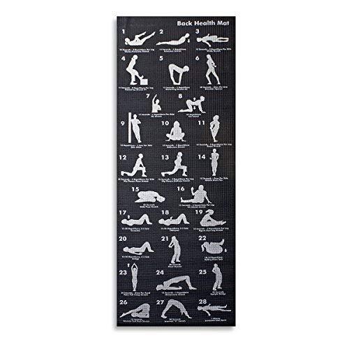 Trimming Shop Rutschfeste Yogamatte mit 28 Asana-Haltungen, dicker Memory-Schaum und Tragegurt für Übungen, Heimstudio, Workout, Pilates, Meditationen (180 cm x 60 cm, schwarz)