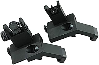 Evans Unlimited Hunting Accessories BUIS Offset Backup Iron Sights for Picatinny Rail - Front & Rear Canted 45 Degree Flip-up Tactical Rapid Transition Sights