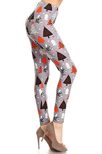 R860-PLUS Orange Christmas Printed Fashion Leggings, Plus Size
