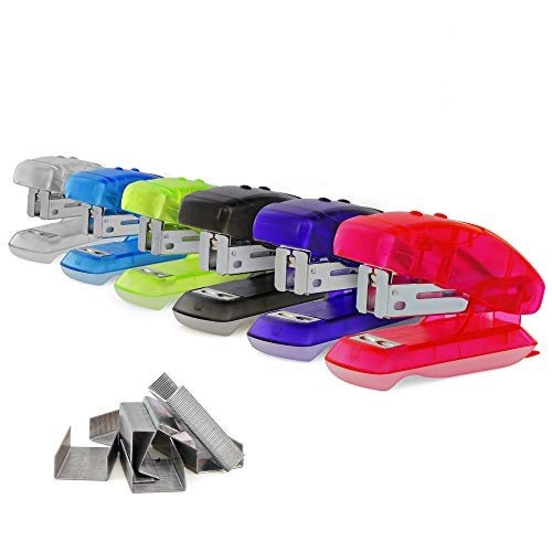 Emraw Mini Stapler Set Built-in Staple Remover Multi Sheet Capacity 500 Standard Staples Durable Plastic and Steel Assorted Colors Office and School Staplers Pack of 2