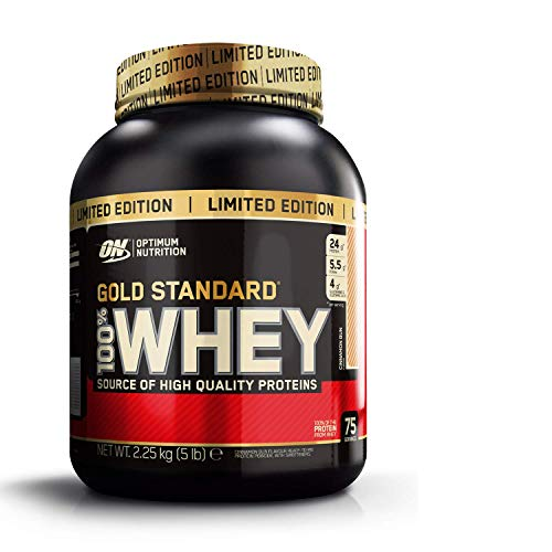 Optimum Nutrition ON Gold Standard 100% whey proteína en polvo suplementos deportivos con glutamina y aminoacidos micronizados incluyendo BCAA, cinnamon roll, 75 porciones, 2.27 kg
