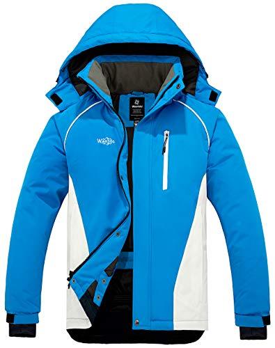 Pooluly Men's Ski Jacket Warm Winter Waterproof Windbreaker Hooded Raincoat Snowboarding Jackets Black