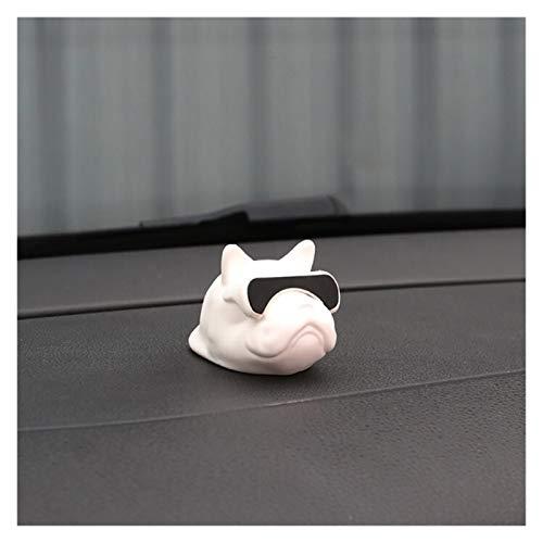 YSDSPTG Auto-Dekoration Auto Ornament PVC Bulldogge Puppe Persönlichkeit Dekoration Automobile Interior Dashboard Hund Spielzeug Autozubehör Kinder Geschenke (Color Name : White)