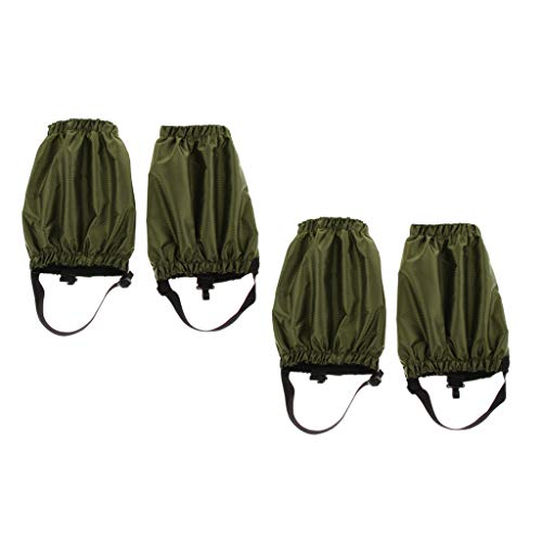 SM SunniMix 2 Pairs Gaiters Low Snow Ankle Gaiters for Women Men Youth Outdoor Hiking Walking Backpacking Lightweight Waterproof Adjustable Army Green