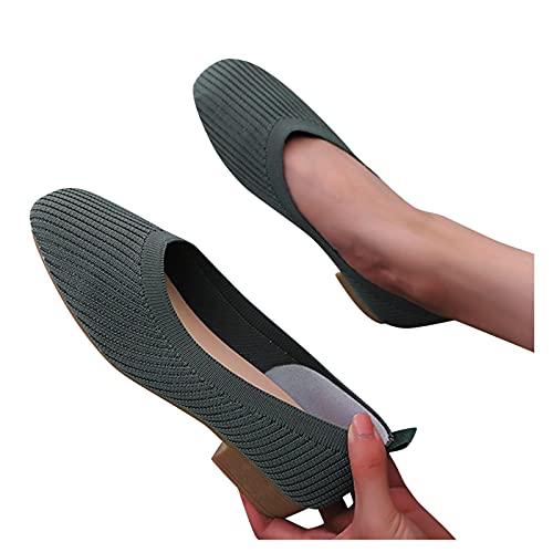Zapatos Planos Para Mujer De Punto Poco Profundo Color Puro De Un Solo Pedal Color Puro Punta Redonda Tacones Cuadrados Zapatos Perezosos