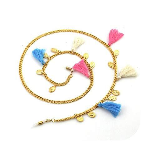Cordón para gafas, cadena con borlas, moda y belleza, gafas de sol para mujer, no se desliza, color dorado