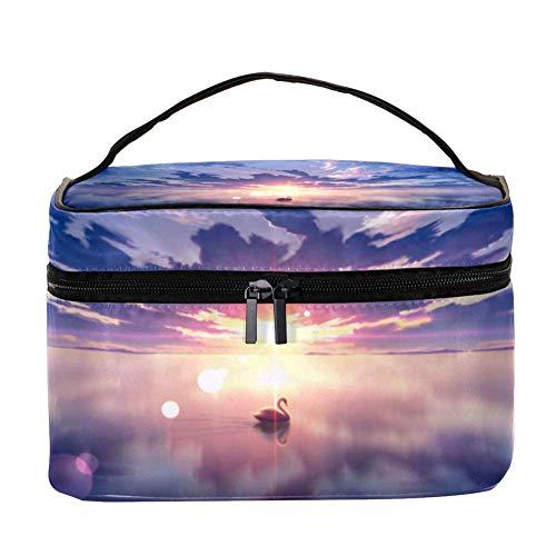 EZIOLY Swan Digital Art Femmes Accessoires de voyage portable avec poche en maille Maquillage Sacs cosmétiques Organisateur de rangement Multifonction