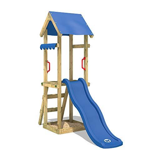 WICKEY Spielturm Klettergerüst TinySpot mit blauer Rutsche, Kletterturm mit Sandkasten, Leiter & Spiel-Zubehör