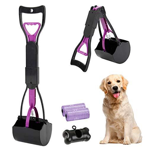 Recogedor de Dientes de Mango Largo para Mascotas, Plegable, 60,96 cm, portátil, sólido dentado, para Limpieza de Arenas, Utensilios de Limpieza para Gatos y Perros al Aire Libre/Interior (Púrpura)