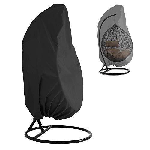 Maalr Wicker - Funda para silla mecedora, de ratán sintético, impermeable, para sillas suspendidas, cubierta protectora antipolvo de tela Oxford con forro de PVC, 190 x 115 cm (negro)