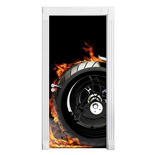 kasup Etiqueta engomada de la Puerta Imagen Papel Negro Autoadhesivo Motocicleta neumático calcomanía PVC Impermeable 3D impresión Arte decoración del hogar DIY para Sala de Estar
