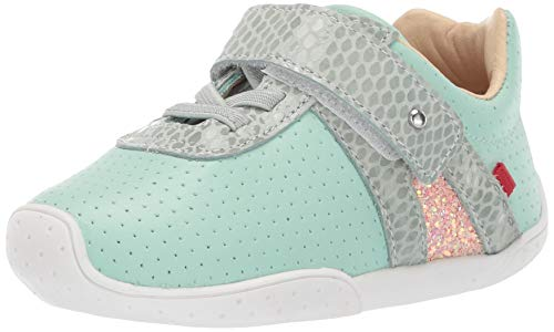 Marc Joseph New York Kid's Toddlers Baby Boys/Girls Genuine Leather Made in Brazil Velcro Strap Shoe, Aqua Perforated, 4 M US Toddler