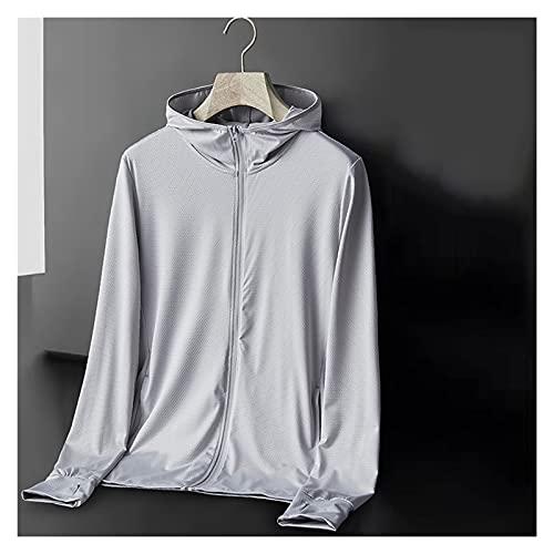 UPF 50+ chaqueta de protección solar, ropa de protección solar con bolsillos, abrigo transpirable de verano, camisa de enfriamiento con capucha, embalable y portátil ( Color : Light Gray , Size : S )