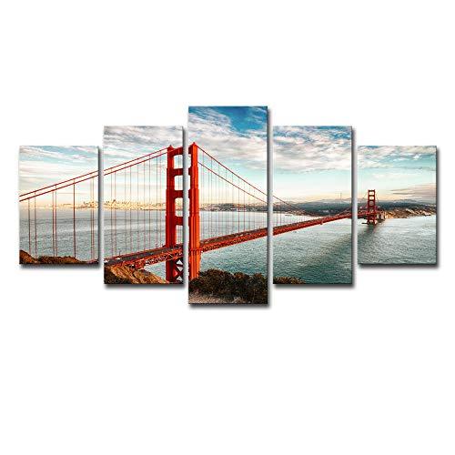 SARUI 5 Panel Wandkunst Leinwand Fotodruck Poster Rot Goldene Tor Brücke Gemälde Für Wohnzimmer Schlafzimmer Home Decorations-Nur Malkern_8X12-2P + 8X16-2P + 8X20-1P