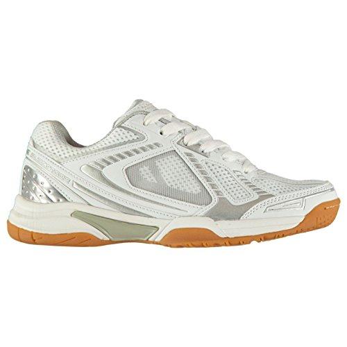 Slazenger Donna Indoor Shoes Scarpe da Squash Bianco/Argento 36