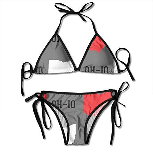 WOWINNER Summer Gift - New Oh-io State Map Gray Women Girls Sexy Bikini Straps Two-Piece Padded Push Up Low Waist Swimsuit Bikini Set Swimsuit Beachwear