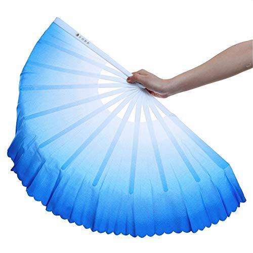 ZooBoo 1pair Plastic Taichi Kungfu Fan Dancing Fans Martial Arts Sports Folding Hand Fan 13inch (Blue)