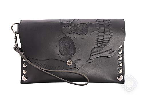 Wristlet Clutch-Swoon Coraline-Black Crepe Clutch-Dressy Wristlet-Removable Key Fob Clutch