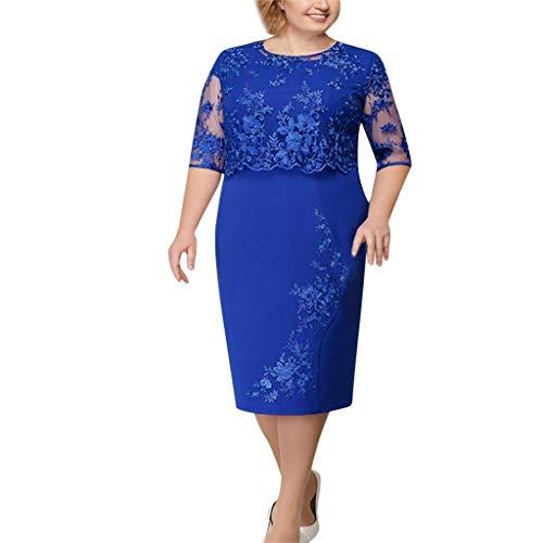 LOPILY Spitzenkleid Damen Große Größen Elegant Abendkleid für Mollige mit Blumendruck Zweilagig Cocktailkleider Kleid für Brautmutter Übergröße Edel Midikleid Plus Size Frauenkleid (Blau, XL)
