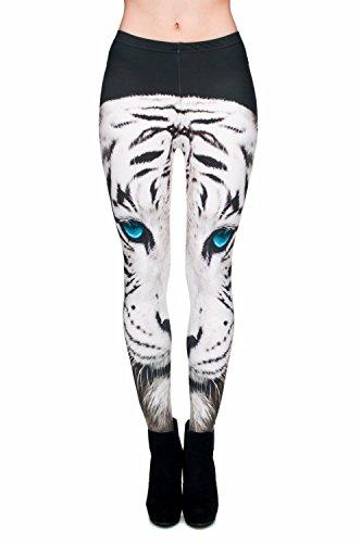 kukubird Printed Patterns Women's Yoga Leggings Gym Fitness Running Pilates Tights Skinny Pants 8 to 12 Stretchable - White Tiger