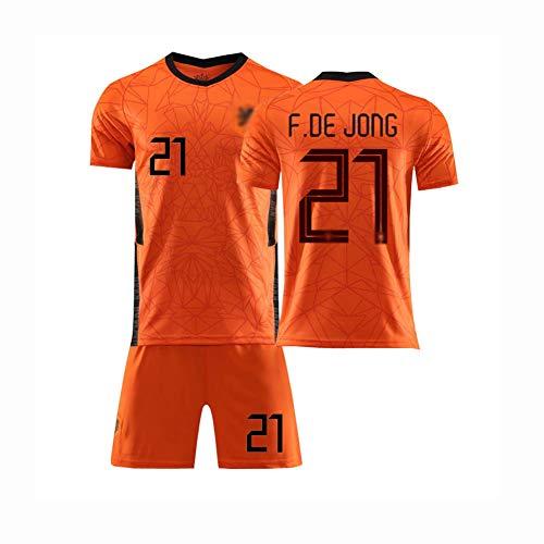 QW 2020-2021 Football Jerseys Home/Away Football Jerseys Game Netherlands National Team Soccer Jersey No.21 T-Shirt and Shorts Set,Orange,S