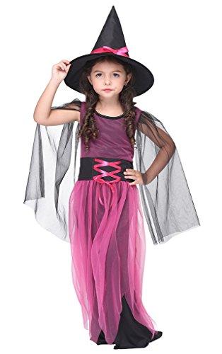 Bigood Costumes Déguisement Sorcière Magique Cartoon Enfant Fille pour Halloween S