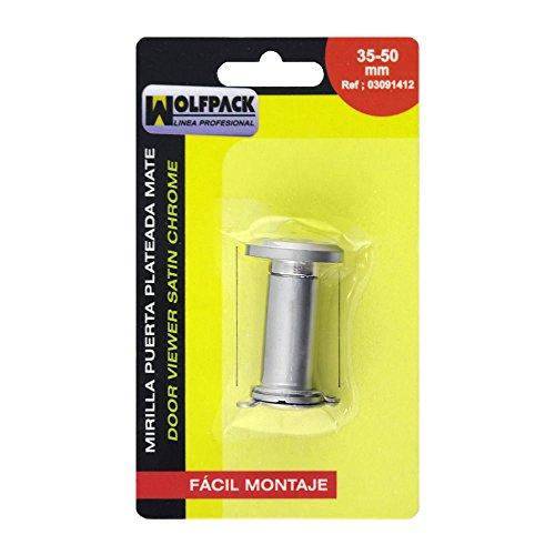 WOLFPACK LINEA PROFESIONAL 3091412 Mirilla Puerta 35-50 mm. Plateada (Blister 1 pieza), Plata mate