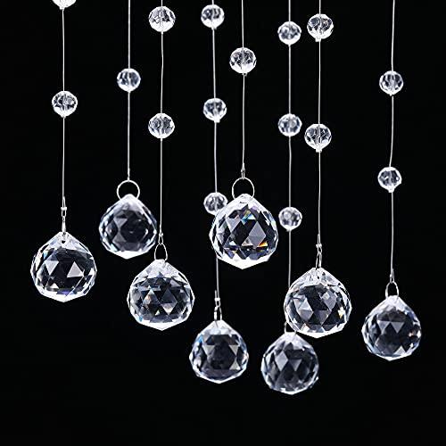 Jovivi 10 cuentas de cristal de 1 m para cortinas, decoración de bodas, para puertas, árboles de Navidad