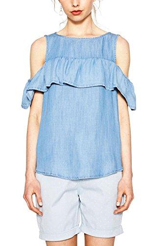 edc by ESPRIT Damen 057CC1F021 Bluse, Blau (Blue Light Wash 903), 38 (Herstellergröße: M)