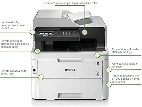 Brother MFC-L3750CDW - Impresora multifunción (Wifi, USB 2.0, 512 MB, 800 MHz, 24 ppm, 430 W) blanco