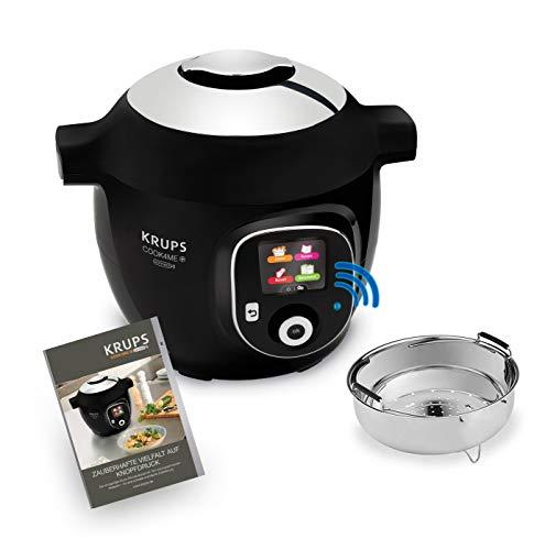 Krups CZ7158 Cook4Me+ Connect - Robot de cocina (1.600 W, olla a presión eléctrica, incluye aplicación gratuita, control Bluetooth, 4 litros de capacidad), color negro y gris