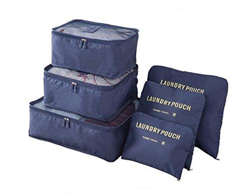 Satz von 6 Reise Kofferorganizer, TMEOG wasserdichte Koffeorganizer Packtaschen Kleidung Verpackungs Würfel Reisegepäck Veranstalter (Marine)