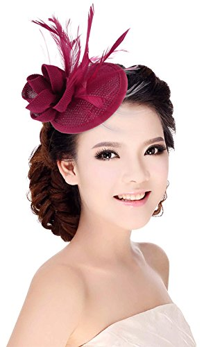 La Vogue Chapeau Bibi Femme pour Mariage Cérémonie Soirée Décoration Fleur Plume Rouge