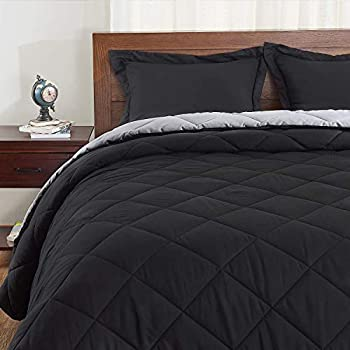Basic Beyond Down Alternative Comforter Set  Queen Black/Grey  - Reversible Bed Comforter with 2 Pillow Shams for All Seasons