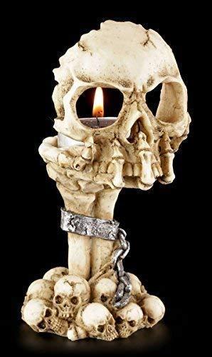 Figuren Shop GmbH Schädel Teelichthalter - Skeletthand mit Totenkopf |Gothic Kerzenhalter Kerzenständer Deko