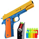 Alisaso Colt 1911 Kid Toy Gun with Soft Bullets Ejecting Magazine - Style of M1911 Toy Guns for Boys Pistol with Play,Fun Outdoor Game of an M1911A1 Colt 45 Dart Guns,Yellow