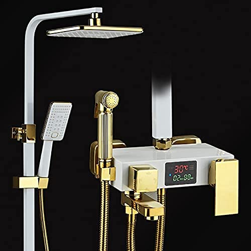 AZDS Digitales Duschset Badezimmer LED-Thermostat-Duschsystem Kaltmischer Thermostat-Badearmatur SPA (Essentials für die Familie)