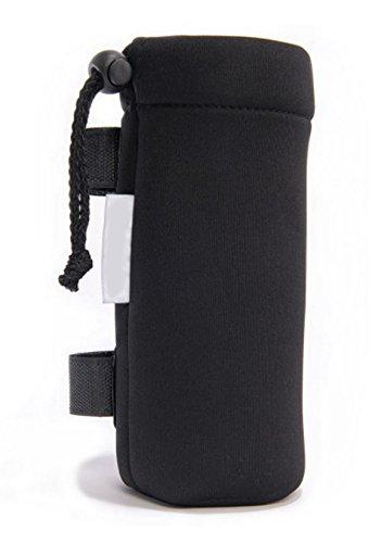Porta bibita bottiglia o biberon da passeggino universale, con pratico aggancio velcro (nero)