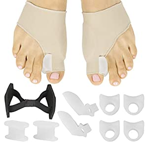 COMPLETE BUNION AND TOE PAIN RELIEF: Kit contents are all designed to provide exceptional relief from discomfort and pain caused by bunions, Hallux Valgus and crooked toes. Also reduces friction, pressure and inflammation for complete bunion pain rel...