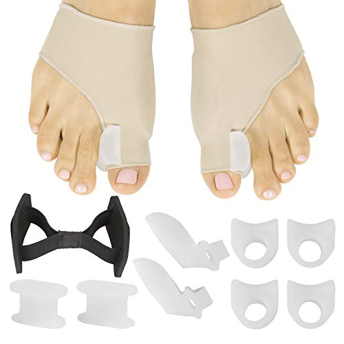 ViveSole Bunion Corrector and Relief Kit (11 Pcs) - Protector Sleeve for Hammer Toe and Foot Pain - Orthopedic Spacer Brace Guard - Hallux Valgus Splint, Big Joint Straightener and Separator Treatment