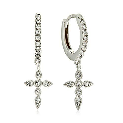 Brandlinger ® Atelier Ohrringe mit Kreuz Anhänger aus vergoldetem 925 Sterling Silber für Frauen und Mädchen. Durchmesser der Creole 14 mm